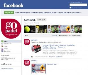 Tienda virtual Go Padel - Página en Facebook